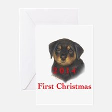 2014 First Christmas Rottie pup Greeting Card