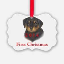 2014 First Christmas Rottie pup Ornament