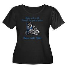 Some wil Women's Plus Size Dark Scoop Neck T-Shirt