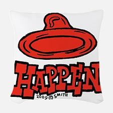 condom_happen_left_red Woven Throw Pillow