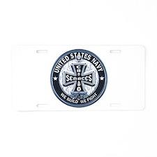 US Navy Seabees Cross Blue Aluminum License Plate