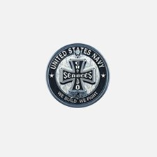 US Navy Seabees Cross Blue Mini Button