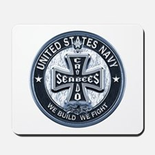 US Navy Seabees Cross Blue Mousepad