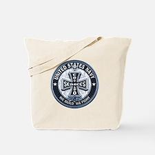US Navy Seabees Cross Blue Tote Bag