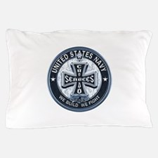 US Navy Seabees Cross Blue Pillow Case