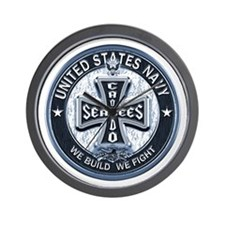 US Navy Seabees Cross Blue Wall Clock