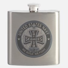 US Navy Seabees Cross Blue Flask