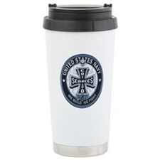 US Navy Seabees Cross Blue Travel Mug