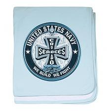US Navy Seabees Cross Blue baby blanket