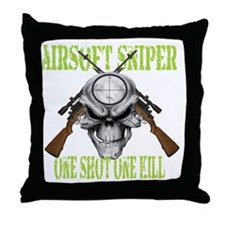 sniper skull Throw Pillow