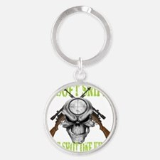 sniper skull Round Keychain