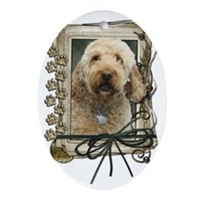 Stone_Paws_GoldenDoodle Oval Ornament