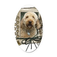 Stone_Paws_GoldenDoodle Oval Car Magnet