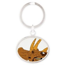 Triceratops Oval Keychain