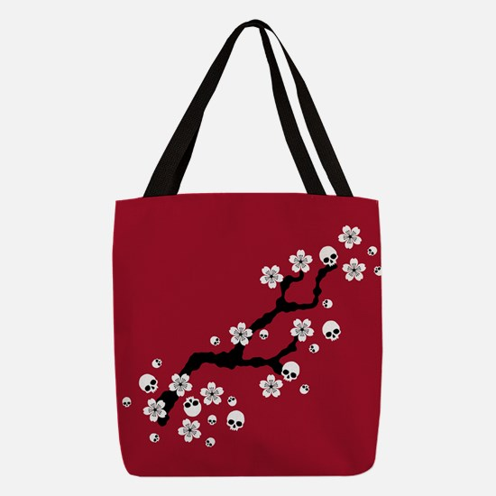 Gothic Cherry Blossoms Polyester Tote Bag