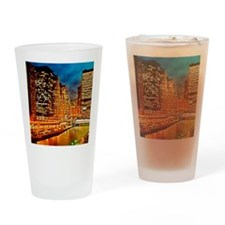 Chicago River at Night, Downtown Drinking Glass