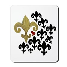 Gold  Black fleur de lis party Mousepad