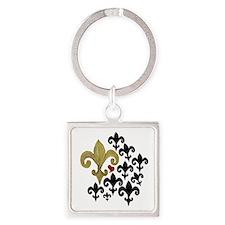 Gold  Black fleur de lis party Square Keychain