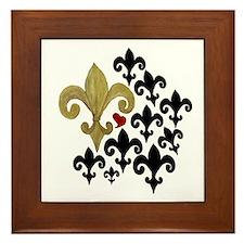 Gold  Black fleur de lis party Framed Tile