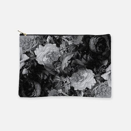 Floral Grey Roses Makeup Bag