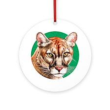 Panther Portrait lighter bkgr Round Ornament