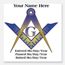 "Masonic history Square Car Magnet 3"" x 3"""