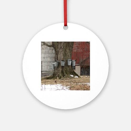 Maple Sap Time Round Ornament