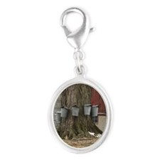 Maple Sap Time Silver Oval Charm