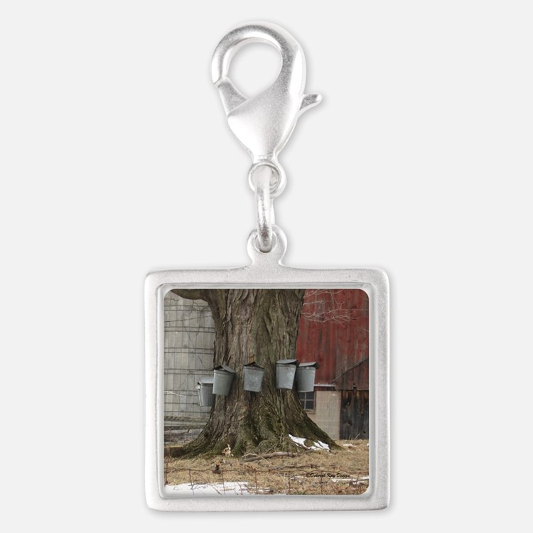 Maple Sap Time Silver Square Charm
