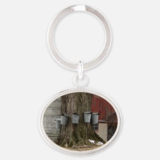 Maple Sap Time Oval Keychain