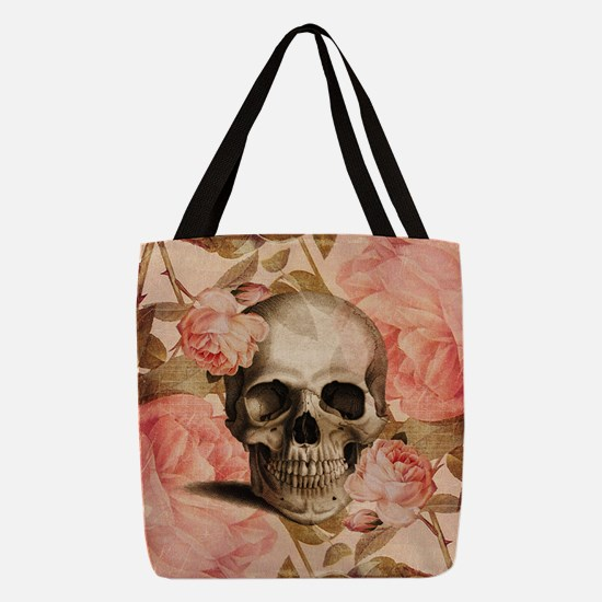 Vintage Rosa Skull Collage Polyester Tote Bag