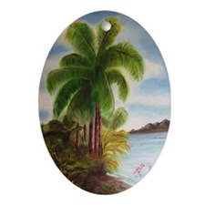 Royal Palm Poster Oval Ornament