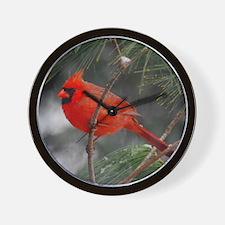 Male Cardinal 02-02-10 340 Wall Clock