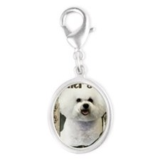 Stone_Paws_Bichon_Frise_Dad Silver Oval Charm