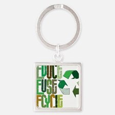 reduse reuse recycle Square Keychain