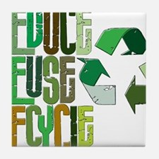 reduse reuse recycle Tile Coaster