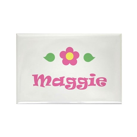 "Pink Daisy - ""Maggie"" Rectangle Magnet"