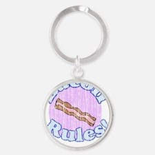 Bacon Rules distressed Round Keychain