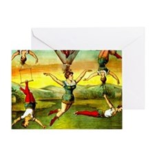 Vintage Lady Acrobat Circus Act Hair Greeting Card