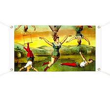 Vintage Lady Acrobat Circus Act Hair Hangin Banner