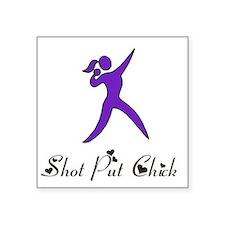 "Shot Put Chick Square Sticker 3"" x 3"""