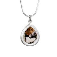 Stone_Paws_Beagle_Dad Silver Teardrop Necklace