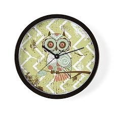 Distressed Chevron Owl Wall Clock