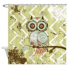 Distressed Chevron Owl Shower Curtain
