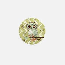 Distressed Chevron Owl Mini Button