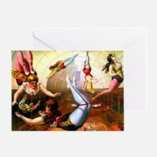 Vintage Lady Acrobats Circus Trapeze Greeting Card