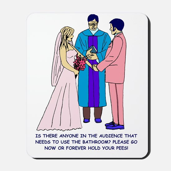 Wedding Sketch Colored Words Mousepad