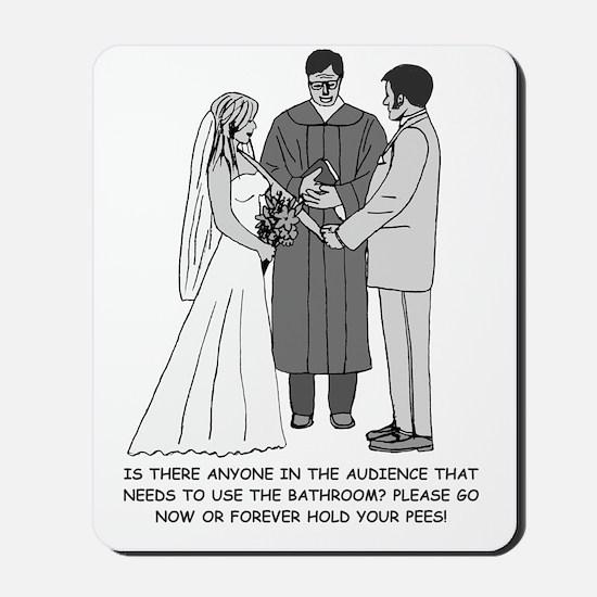 Wedding Sketch BW Words Mousepad