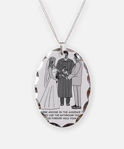 Wedding Sketch BW Words Necklace