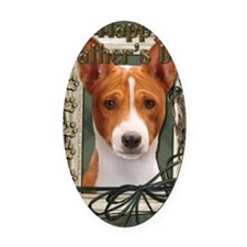 Stone_Paws_Basenji Oval Car Magnet